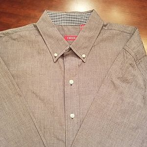 NWT Izod Gray Button Down Shirt Large